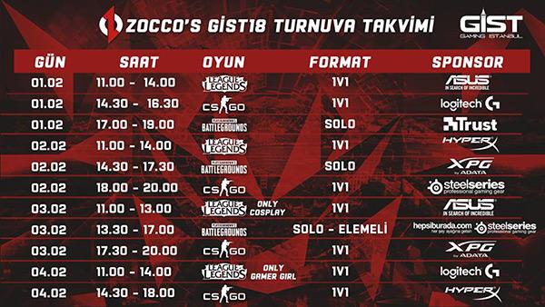 zoccos gaming istanbul 2018 turnuva takvimi